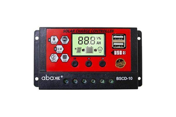 abax bscd 10ah 12 24 volt lcd ekran pwm sarj kontrol cihazi